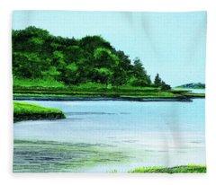 The Little River Gloucester, Ma Fleece Blanket