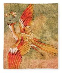The Peahen's Gift - Kimono Series Fleece Blanket