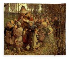 The Pied Piper Of Hamelin, 1881 Fleece Blanket