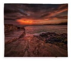 The Pier Sunset Fleece Blanket