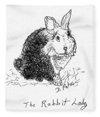 The Rabbit Lady Drawing Fleece Blanket