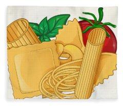 the real italian Pasta food with basil and tomato.  illustr Fleece Blanket