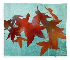 The Red Leaves Fleece Blanket
