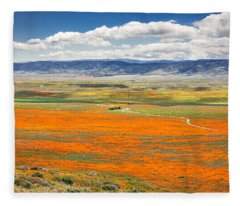 The Road Through The Poppies 2 Fleece Blanket