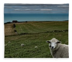The Sheep On The Clifftop Fleece Blanket