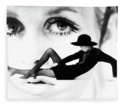 Fleece Blanket featuring the photograph Twiggy Swinging 60's - Pop Art by Andrea Kollo