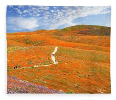 The Trail Through The Poppies Fleece Blanket