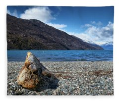 The Trunk, The Lake And The Mountainous Landscape Fleece Blanket