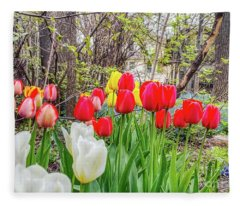 The Tulips Are Out. Fleece Blanket