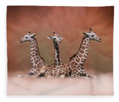The Watchers - Three Giraffes Fleece Blanket