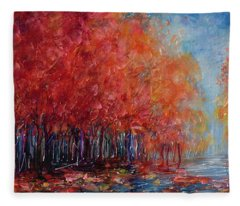 The World Is Empty Without You Palette Knife By Olena Art Fleece Blanket