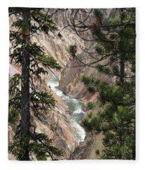 The Yellowstone River Seen Through The Pines Fleece Blanket
