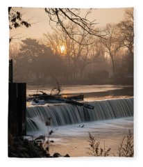 Thiensville Dam In December Fleece Blanket