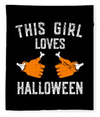This Girl Loves Halloween Fleece Blanket