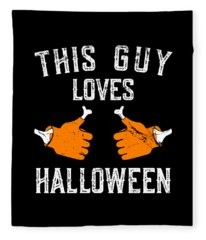 This Guy Loves Halloween Fleece Blanket