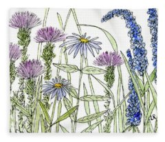Thistle Asters Blue Flower Watercolor Wildflower Fleece Blanket