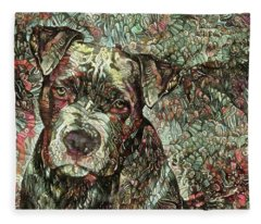 Thor The Mighty Pit Bull Fleece Blanket