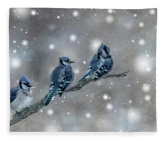 Three Blue Jays In The Snow Fleece Blanket