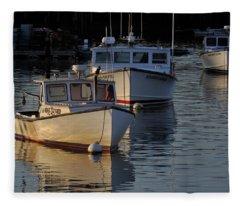 Three Boats In Maine Fleece Blanket