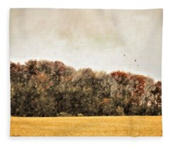 Three Crows And Golden Field Fleece Blanket
