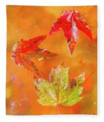 Three Fallen Leaves. Fleece Blanket