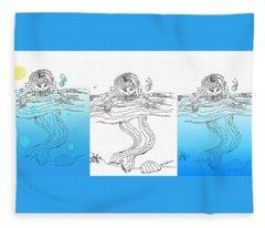 Three Mermaids All In A Row Fleece Blanket