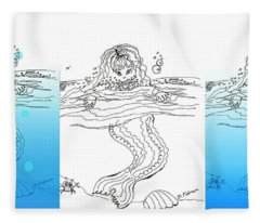 Three Mermaids All In A Row Fleece Blanket