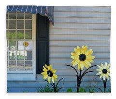 Three Metal Flowers Fleece Blanket