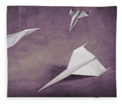 Three Paper Airplanes Fleece Blanket