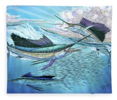 Three Sailfish And Bait Ball Fleece Blanket