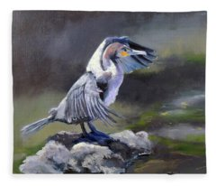 Tiber River Cormorant Fleece Blanket