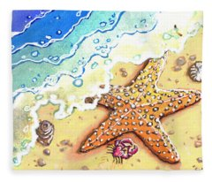 Tidal Beach Starfish Fleece Blanket