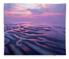 Tidal Flats Sunset Fleece Blanket