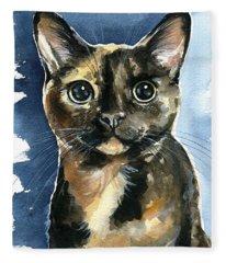 Tiffany Tortoiseshell Cat Painting Fleece Blanket