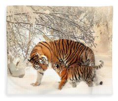 Tiger Family Fleece Blanket