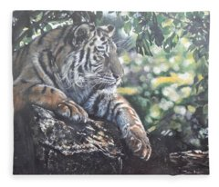 Tiger In Dappled Light Fleece Blanket