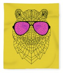 Tiger In Pink Glasses Fleece Blanket