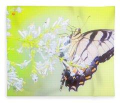 Tiger Swallowtail Butterfly On Privet Flowers Fleece Blanket