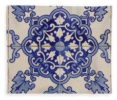 Tiles With Geometric And Plant Motifs Located In The Town Square, Castro Verde. Alentejo. Portugal. Fleece Blanket