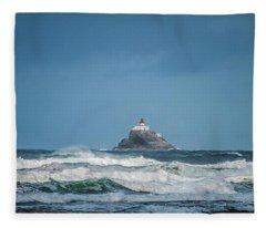 Tillamook Rock Lighthouse Near Cannon Beach Fleece Blanket