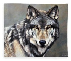 Timber Wolf By Alan M Hunt Fleece Blanket