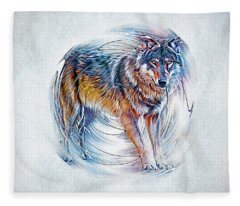 Timber Wolf Fleece Blanket