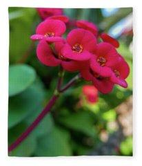 Tiny Red Flowers Fleece Blanket