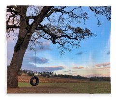 Tire Swing Tree Fleece Blanket