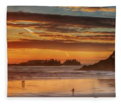 Tofino Beach Sunset 1 Fleece Blanket