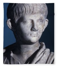 Togate Statue Of The Young Nero, Front View Of The Head Fleece Blanket