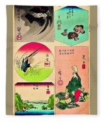 Tokaidoharimaezue - Kakegawa, Fukuroi, Mitsuke, Hamamatsu, Maisaka Fleece Blanket