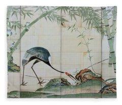 Top Quality Art - Cranes Pines And Bamboo Fleece Blanket