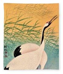 Top Quality Art - Two Japanese Crane Fleece Blanket
