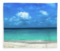 Topical Beach View Anguilla Fleece Blanket